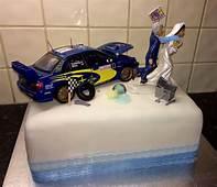 Subaru Car Enthusiast Wedding Cake With Bride Dragging
