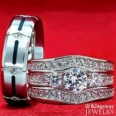 his hers 4 pcs womens sterling silver mens titanium wedding rings bridal ebay