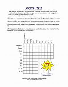 logic puzzle worksheets 5th grade 10845 logic puzzle shopping at a garage sale worksheet for 4th 5th grade lesson planet