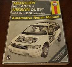 online auto repair manual 1993 mercury villager lane departure warning haynes mercury villager nissan quest 1993 1998 repair manual bin a9 ebay