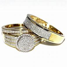 his and her bridal rings set trio 0 73ct 10k yellow gold