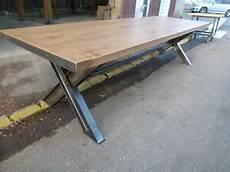 plateau table bois massif 32905 immense table pieds x en croix ipn plateau en ch 234 ne massif r 233 union cuisine 3m ebay