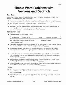 word problems with fractions and decimals worksheets 7589 simple word problems with fractions and decimals education world