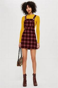 check corduroy pinafore dress dresses clothing topshop
