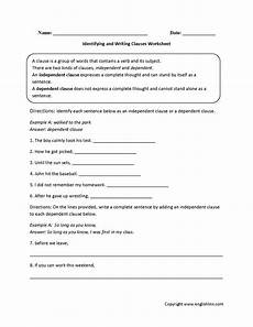 clauses worksheets identifying and writing clauses worksheet