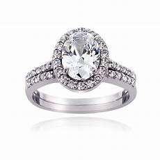 925 sterling silver 1 75ct cz oval bridal engagement ring