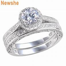newshe wedding engagement ring set for women 2 5ct sterling silver round cz 5 12 ebay