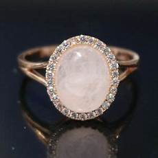 natural rose quartz moissanite wedding engagement ring
