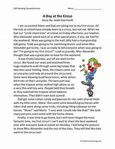 reading comprehension worksheet a day at the circus