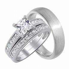 his hers matching cz wedding ring set for him and her 5 8 choose sizes walmart com