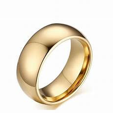 mens 8mm tungsten carbide dome gold wedding band promise ring gift size 8 13