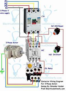 Four Pole Contactor Diagram by Contactor Wiring Guide For 3 Phase Motor With Circuit