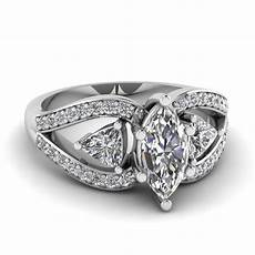 trillion butterfly marquise diamond engagement ring in 14k