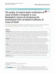 pdf the quality of medical death certification of cause of death in hospitals in rural