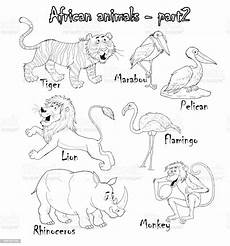 Ausmalbilder Tiere Afrika Set Of Animals Coloring Page