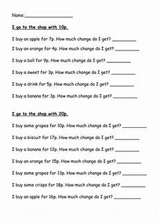 money worksheets ks2 giving change 2208 money change from various amounts teaching resources