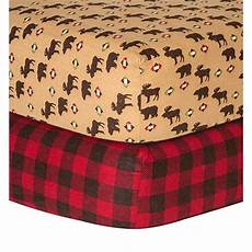 trend lab northwood and check print flannel fitted crib