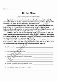 animal migration esl worksheets 14297 comprehension activity animal migration esl worksheet by salou28