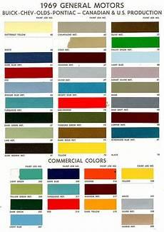 1969 gm chev pontiac buik colours paint charts