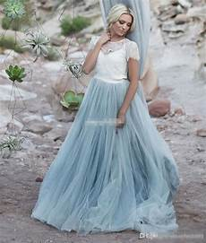discount light blue wedding dresses white lace sheer detachable jacket crop top short sleeve