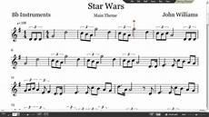 star wars sheet music trumpet clarinet tenor sax youtube