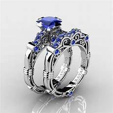 art masters caravaggio 14k white gold 1 25 ct princess blue sapphire engagement ring wedding