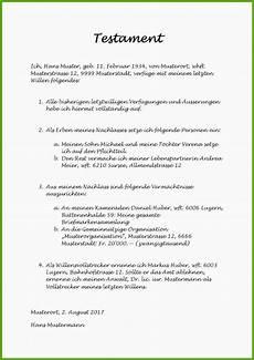 Testament Schweiz Vorlage Alleinstehend 12 Stile F 252 R
