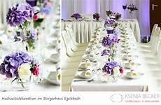 tischdeko mit hortensien buergerhaus egelsbach hochzeitsdekoration tischdekoration