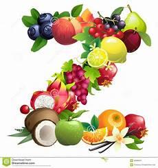 letra z integrado por diversas frutas con las hojas stock