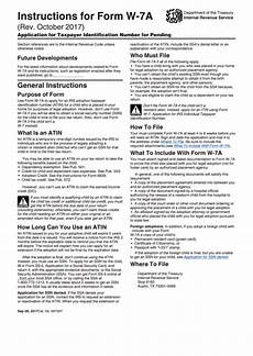 instructions for form w 7 a application for taxpayer identification number for pending u s