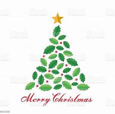 merry christmas and winter season greeting card christmas tree shape with leaves and star paper