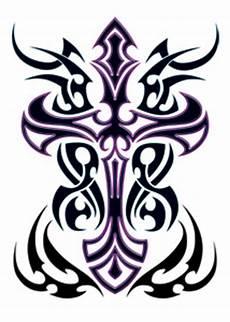 purple tribal cross tattooforaweek temporary