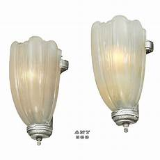 art deco streamline wall sconces 30s slip shade lights pair fixtures ant 689 for sale
