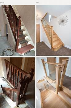 Before And After Glass And Wood Staircase Renovations