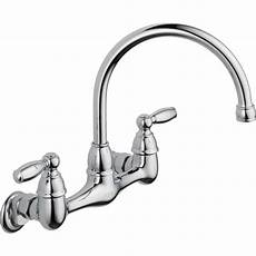 kitchen wall faucet peerless choice 2 handle wall mount kitchen faucet in chrome p299305lf the home depot