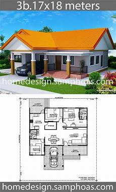 exclusive cool house plan id chp 39172 total house design plans 17x18m with 3 bedrooms in 2020 house