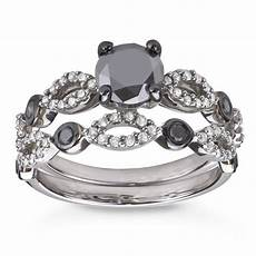 sterling silver 1 1 2ct tdw black and white diamond bridal