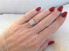 four claw solitaire engagement ring with a plain wedding band rings fingers pinterest