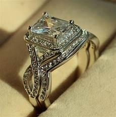 princess cut diamonique cz white gold filled engagement wedding ring sz 5 11 ebay