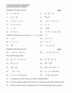 algebra review worksheets 8553 college prep algebra semester review worksheet lesson plan for 8th 11th grade lesson planet