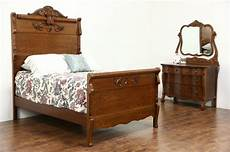 victorian carved oak antique 1900 bedroom set full size