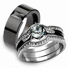 marimor jewelry his hers 4pc silver and black stainless steel wedding engagement ring band