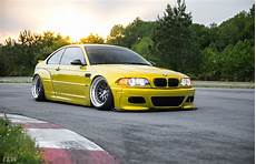 widebody yellow bmw e46 m3 bagged and modified