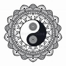 vintage yin and yang in mandala stock illustration