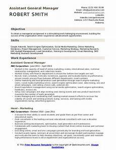 assistant general manager resume sles qwikresume