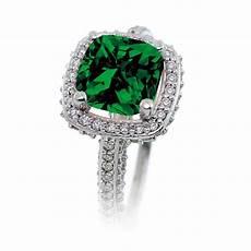2 5 carat cushion cut designer emerald and diamond halo