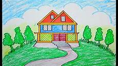 How To Draw Scenery Scenery Of House Draw For Beginners