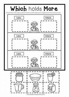 free non standard measurement worksheets for kindergarten 1865 capacity non standard measurement for kindergarten grade one kindergarten math