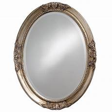 25 in x 33 in warm antique silver oval framed mirror