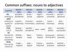 noun forming suffix common suffixes nouns to adjectives